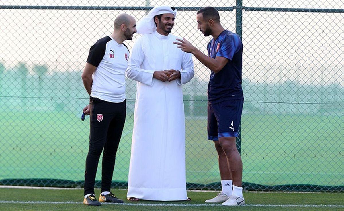 شاهزاده قطر در تمرین الدحیل پیش از دیدار با پرسپولیس + عکس